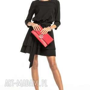 Elegancka sukienka z podwójną spódnicą, t320, czarna sukienki