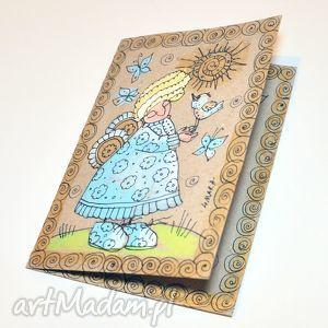 handmade scrapbooking kartki aniołek z ptakiem