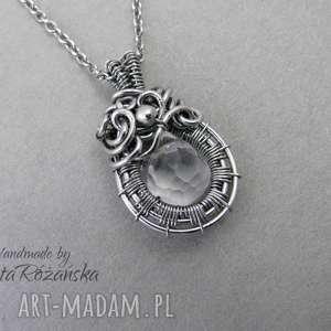 handmade wisiorki wisiorek kryształ górski, wire wrapping, stal chirurgiczna