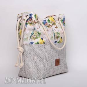 Torebka w kształcie worka piękny, wiosenny wzór torebki bags