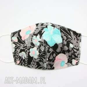 maska bawełniana dwuwarstwowa maseczka ochronna na rower kwiaty
