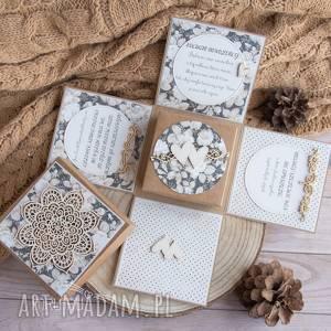 handmade scrapbooking kartki exploding box ślubny, wyjątkowy i piękny prezent na ślub, prezent dla