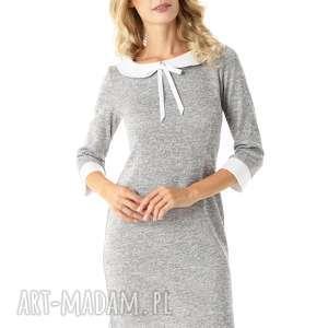 sukienki dopasowana sukienka z kołnierzykiem flora szara