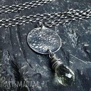 Prezent Naszyjnik srebrny z fasetowaną kroplą zielonego ametystu, naszyjnik-srebro