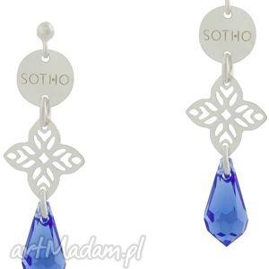 długie orientalne kolczyki z szafirowymi kryształami - wiszące