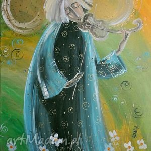 anioł ze skrzypcami 50x35cm - 4mara, czajkowska, skrzypek, obraz, płótno