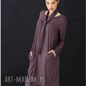 Bakłażona sukienka Cravatca, sukienka, midi, bakłażan, długi, rękaw, wiskoza