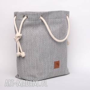 handmade torebki szara torebka worek z grubej plecionki, rączki ze sznurka