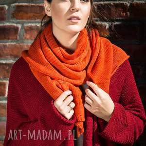 ciepły, pomarańczowy szal - szal na prezent, zimowy, wełniany