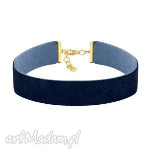 choker wide - navy blue velvet, choker, aksamit, granatowy