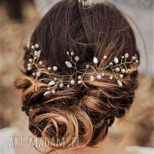 Niezwykła aplikacja ozdoba ślubna stroik do włosów INES firmy LAURIS, fryzura, ślub