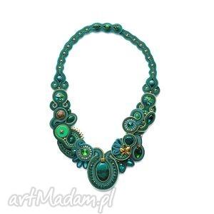 ręcznie zrobione naszyjniki isobelle - szmaragdowo zielony naszyjnik soutache