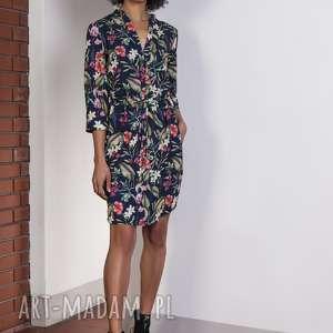 sukienki sukienka w kwiaty, suk149 casual, sukienka, szczypanki, wiązanie