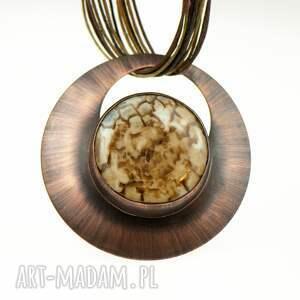 cappucino naszyjnik z agatem -na prezent c567, miedzi, miedziana biżuteria