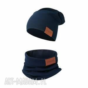 komplet czapka i komin granatowy, komin, bawełniana