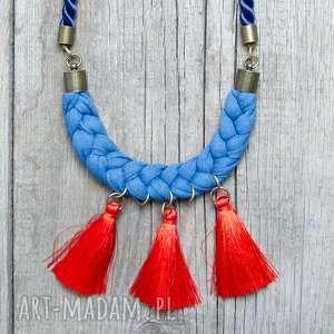 modny pleciony naszyjnik z chwostami, niebieski naszyjnik na lato - pleciony, bawełna