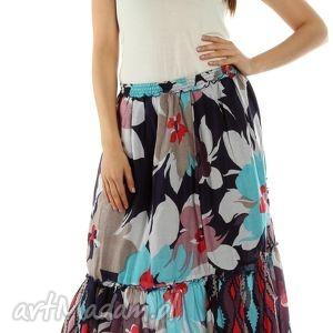 długa spódnica z nadrukiwm w kwiaty mod 5 - spódnica, maxi, długa