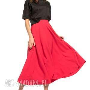 spódnica midi, t260, czerwony, spódnica, zamek, ozdobny, tkanina