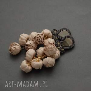 kolczyki sutasz z kwiatami, sznurek, wyjściowe, cieliste, eleganckie, wiszące