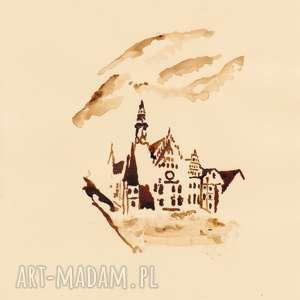 Ratusz Wrocławski - obraz kawą malowany - ,wrocław,ratusz,rynek,retro,sentymentalnie,