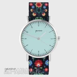 zegarek - simple, turkusowy folk czarny, nato, zegarek, bransoletka, klasyczny