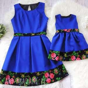 sukienki góralska sukienka dla mamy i córki folk szafirowe, sukienka, mama-córka