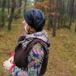 czapka czarna damska niby skóra, czapka, czarna, eco, boho, folk