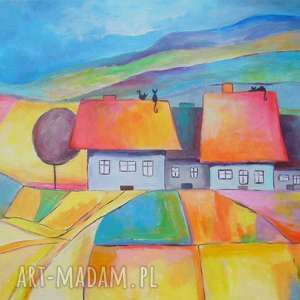 obraz na płótnie - sŁoneczne miasteczko 30 40 cm - miasteczko, domki, bajka