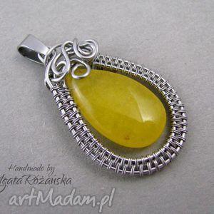 Wisiorek z żółtym jadeitem, stal chirurgiczna, wire wrapping, wire,