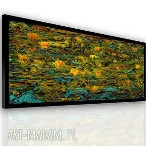 obraz na płótnie złoty staw z marginesem 150x60, kwiaty, staw, eleganckie