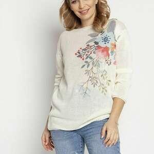 sweter z nadrukiem - swe235 ecru mkm, nadrukiem, w kwiaty