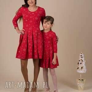 sukienki sukienka damska śnieżynka, śnieżynki, święteczna, czerwona, złote