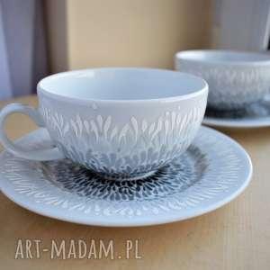 ceramika filiżanki dla pary prezent ślubny rocznica szary ombre, pary
