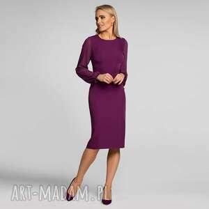 sukienki sukienka lidia midi burgund, dopasowana sukienka, ołówkowa