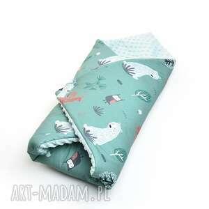 handmade dla dziecka becik otulacz rożek minky zielony las / szałwia