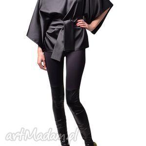 black cat - kimonowa bluzka czarna, tkanina, satyna, kimonowa
