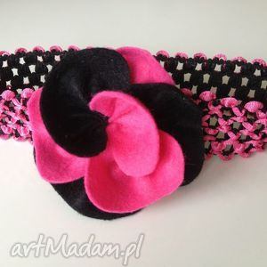hand-made dla dziecka opaska niemowlęca - ażurowa róż z czarnym