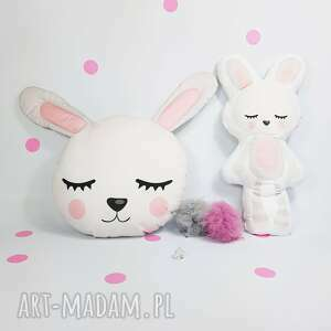 Komplet poduszka i maskotka urocze króliki maskotki bliblo