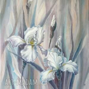 białe irysy, ręcznie malowany obraz olejny, l olbrycht, kwiaty