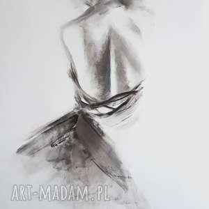 prezent na święta, woman 100x70, duży obraz kobieta, czarno biała grafika, duża