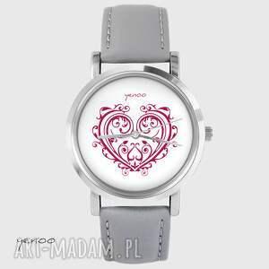 handmade zegarki zegarek - serce ornamentowe skórzany, szary