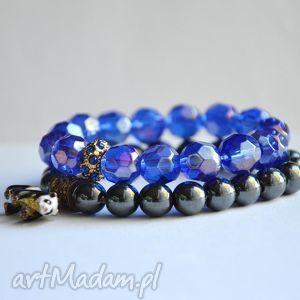 bransoletki bracelet by sis szklane korale w kolorze electric blue cyrkoniową