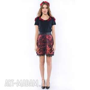 Pani Jesień - spódniczka z koronką, spódnica, koronka, wielobarwna