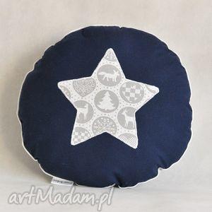 ręcznie zrobione pomysł na święta prezent okrągła poduszka świąteczna szaro-granatowa