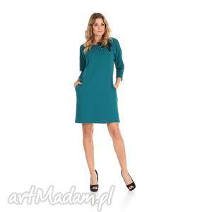 45-sukienka z kokardą,szmaragd,rękaw 3/4, lalu, sukienka, dzianina, bawełna