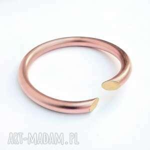 handmade bransoleta miedziane koło z elementami mosiądzu
