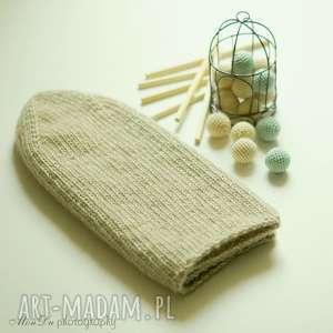 prezent na święta, jesienna beżowa, czapka, dziergana, wełniana, męska, merino