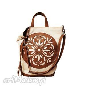 na ramię torba płótno plus rozeta - czech draft, xxl, torba, duża, płótno,