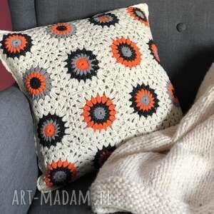 poszewka na poduszkę 50x50 cm pomarańczowe kwiatki, poduszka, poszewka, kwiatki