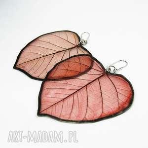 kolczyki prawdziwe liście bordowe wzór, z liści, oryginalne